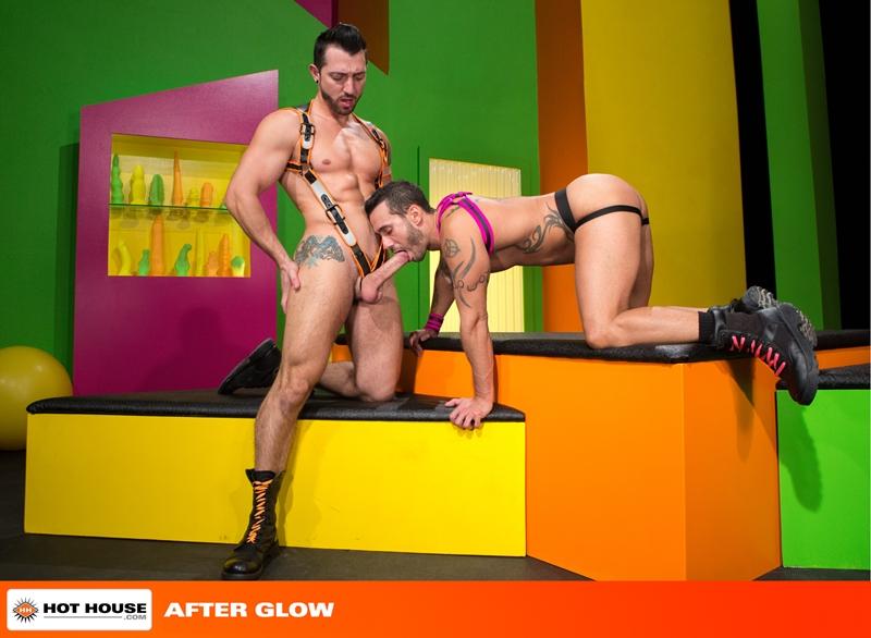 Alexy Tyler turns around to suck on Jimmy Durano's rock hard cock
