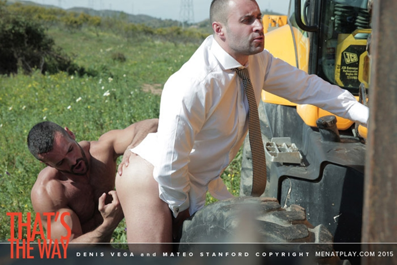 Denis Vega drops his boiler suit to reveal his thick cock which Mateo Stanford gags on