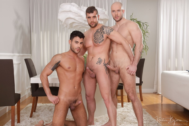 Issac Eliad shoves his fat, raw cock in Jared's hot hole as he sucks on Marek Borek's pounding cock