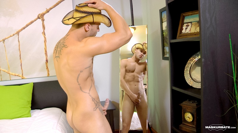 Maskurbate-tattoo-naked-muscle-hunk-Mike-sexy-cowboy-jock-hat-beautiful-stud-erect-big-dick-horny-young-man-guy-fucks-07-gay-porn-star-sex-video-gallery-photo