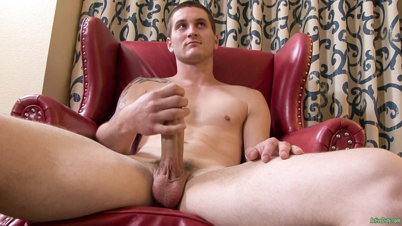 Allen Lucas jerks his thick dick playing with his smooth balls
