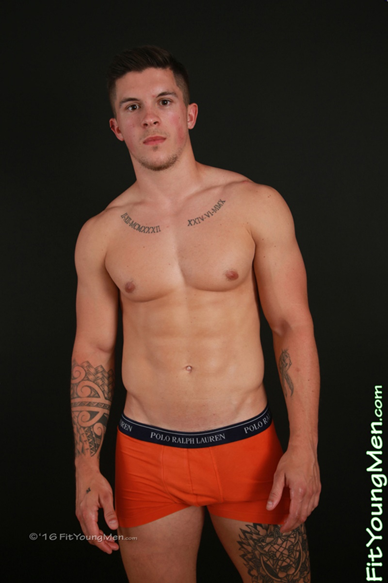 Fit Young Men young hung muscle boy Vince Faldo strips out of his sexy undies