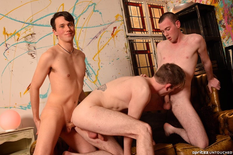 Bottom boy Harley Sinn loves being fucked first by buff dude Dylan Thorne then by Milo Taylor's XL cock