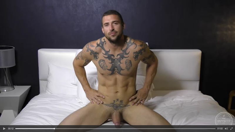 The Guy Site sexy tattooed muscle hunk Derek Thibeau jerks his long thick dick