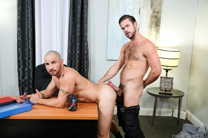 Sexy hairy chested hunk Mike De Marko fucks Alex Torres with his huge hard dick