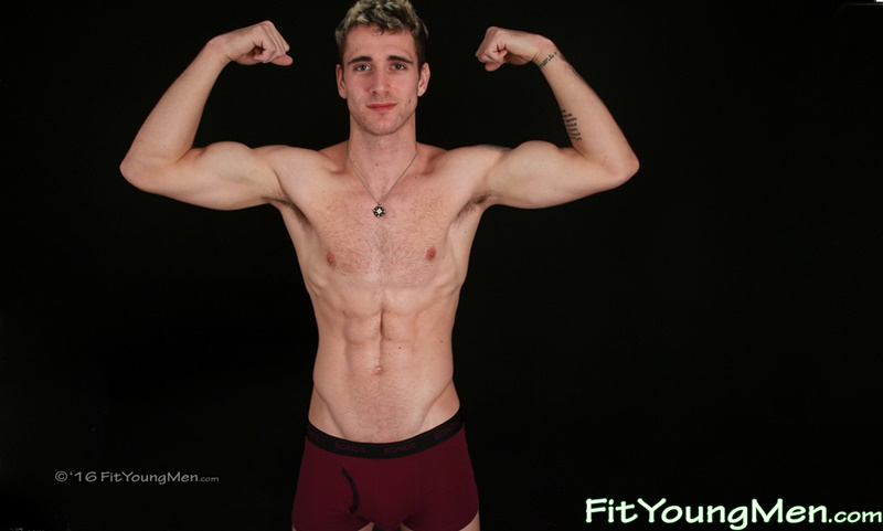 24 year old gym pup James Harrison shows off his ripped body and big uncut dick