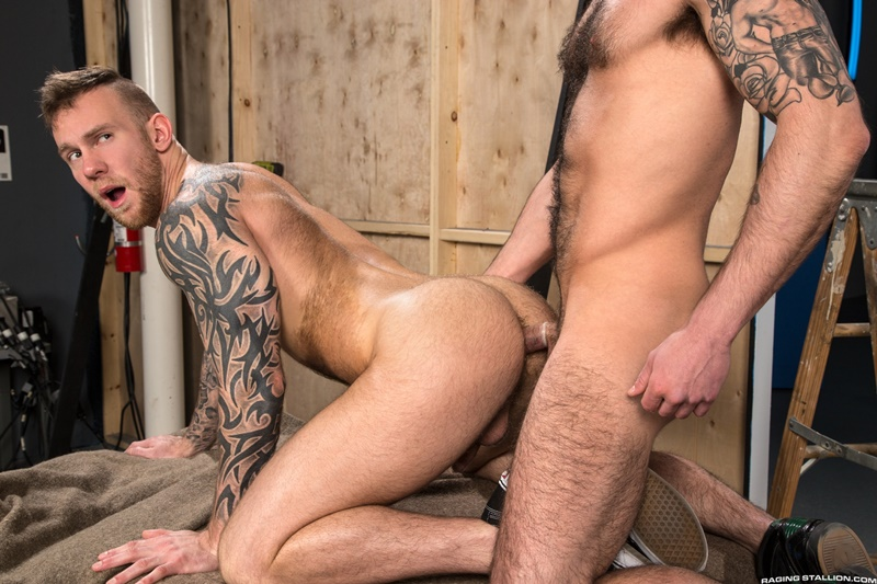Chris Harder flip flops and gets on his back to take Damien Michaels' dick deep and hard