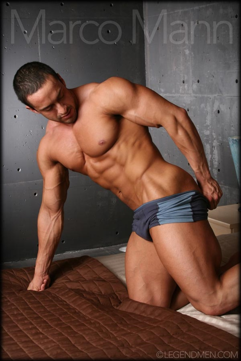 Sexy naked big muscle bodybuilder ripped Legend Man Marco Mann strips and jerks his huge uncut dick