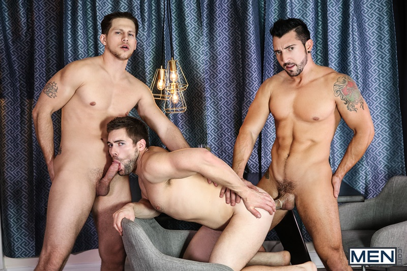 Sexy young muscle dudes Jimmy Durano, Roman Todd and Griffin Barrows hardcore ass fucking
