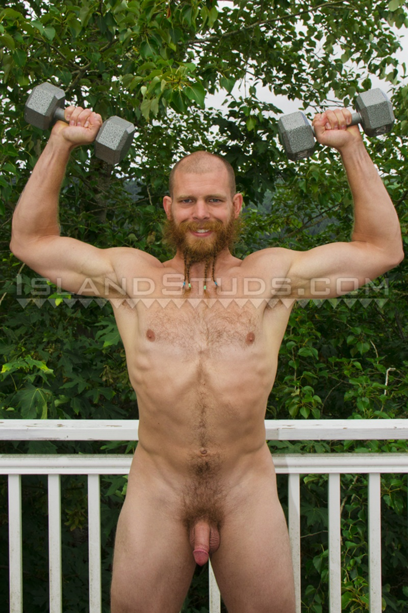 Ripped mountain man Bain strips naked jerking his big thick dick
