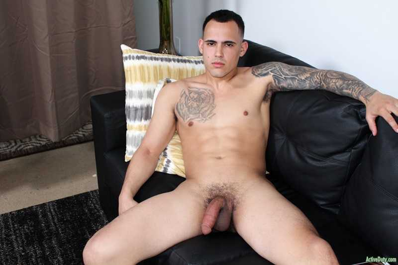 Avid soccer star Active Duty Fernando strokes his fat dick for the cameras