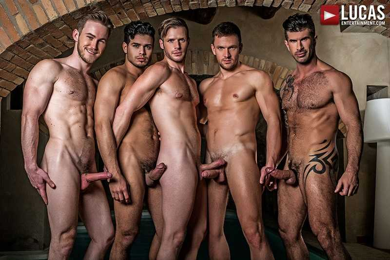 Brian Bonds bareback ass fucking by Marq Daniels, Rico Marlon, Andrey Vic, and Adam Killian