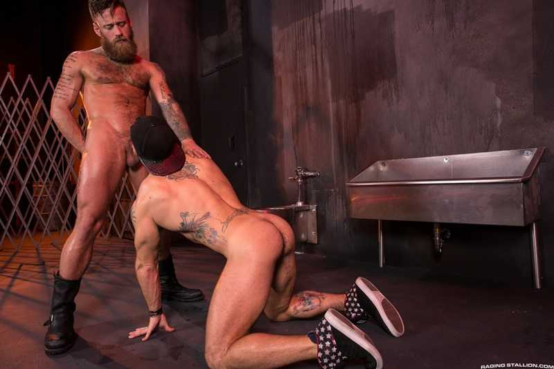 Aarin Asker bends over and opens his hairy crack for Hoytt Walker to work with his tongue