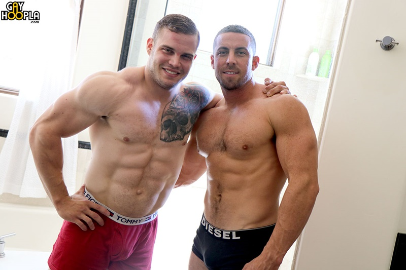 Buck Carter and Derek Jones muscle jock flip flop ass fucking