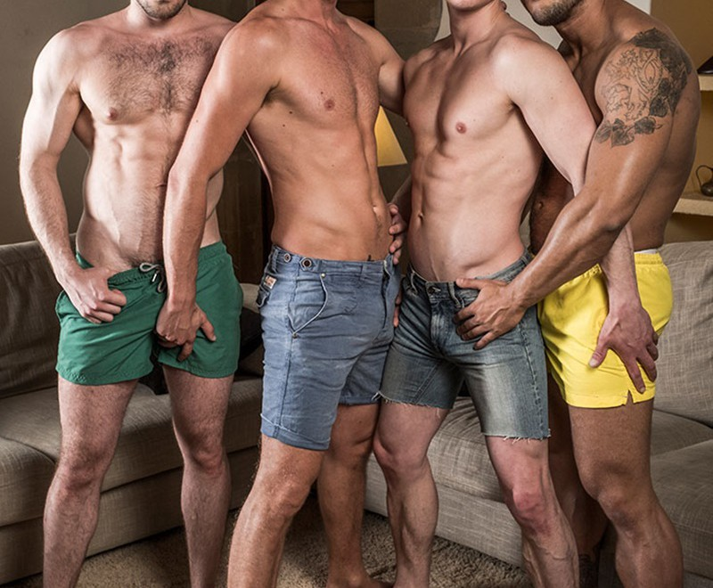 Raw big dick double ass fucking Ben Batemen, Brock Magnus, Ruslan Angelo and Damon Heart