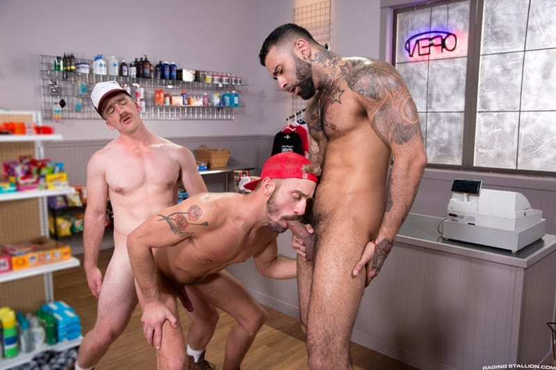 Nate Stetson shoves his big dick inside Rikk York's big hairy ass before fucking Jett Rink's smooth asshole