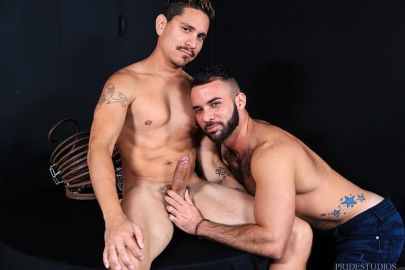 Sexy young dude Fernando Del Rio sucks down hard on Lex Sabre's huge 9 inch cock