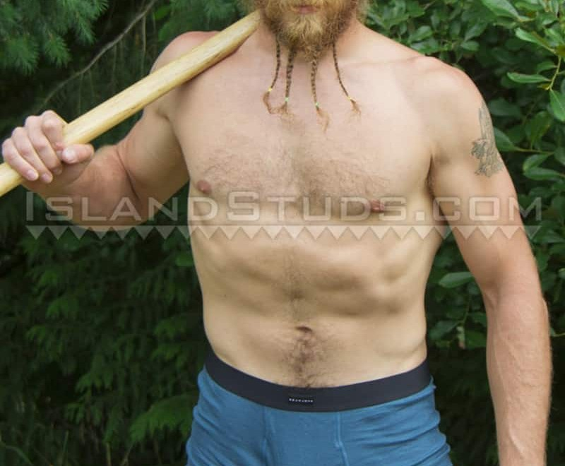 Sexy bearded ripped muscle butt fire fighter Bain camps nude and jerks off outdoors in chilly Oregon