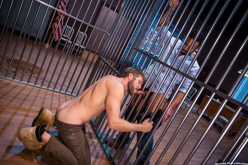 Colby Keller slides his huge throbbing dick deep into Damian Taylor's tight furry ass hole