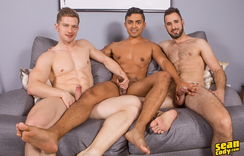 Sexy hottie muscled hunk Hector fucks around with Sean Cody muscle couple Asher and Deacon