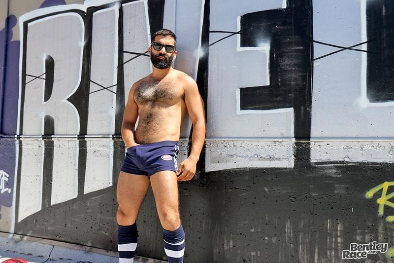Hot older dude Bastien Passif stips and jerks his big cock