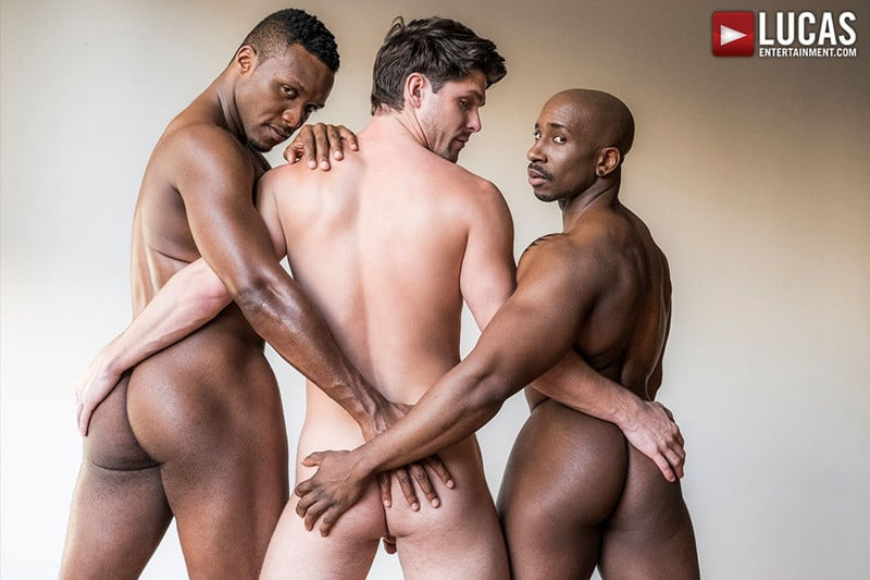 Hung black studs Andre Donovan and Max Konnor double fuck spit roasting Devin Franco