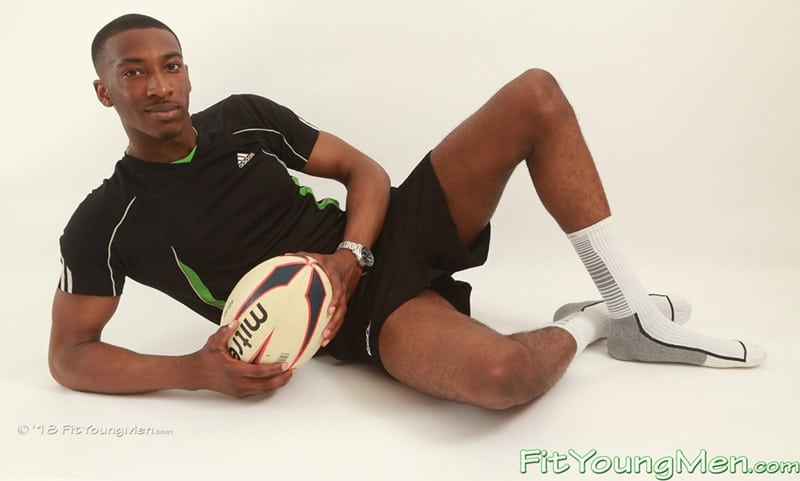 Hot nude black sports dude Steve Hanson strips out of his sexy underwear and socks and jerks his big black cock
