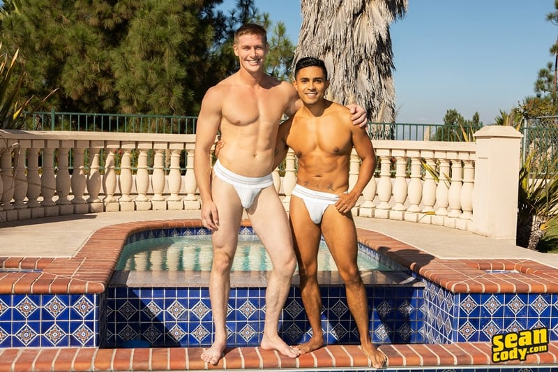 Men for Men Blog Jax-barebacks-Asher-fucks-big-bare-raw-cock-sucking-smooth-black-bubble-ass-hole-SeanCody-005-gay-porn-pictures-gallery Sexy young interracial muscle couple Jax and Asher bareback ass fucking Sean Cody