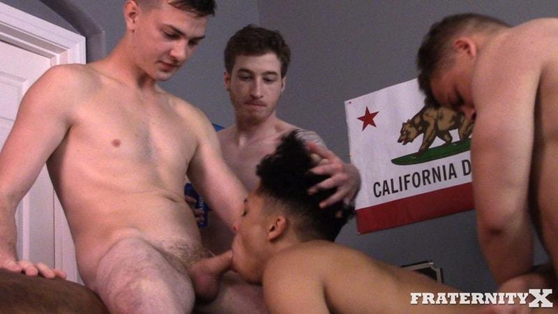 Young college dudes dumped cum loads on Pierce's cute face