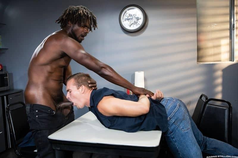 Big black muscle stud Devin Trez's massive cock bareback fucks Isaac X's tight bubble ass hole