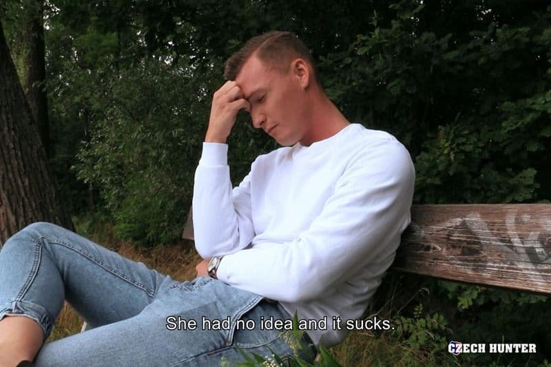 Czech Hunter 547 young straight stud sucks my big uncut dick outdoors then I fuck his virgin ass hole