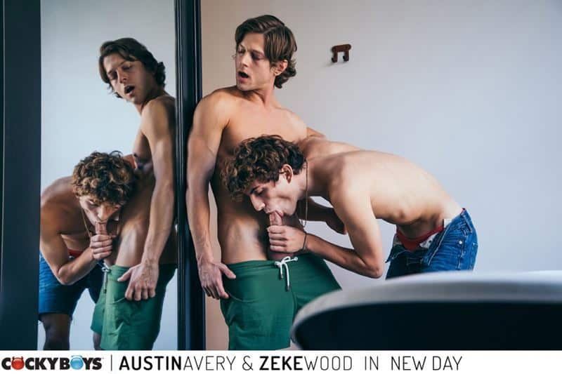 New young curly haired stud Zeke Wood's tight raw asshole bare fucked by Austin Avery's huge thick dick
