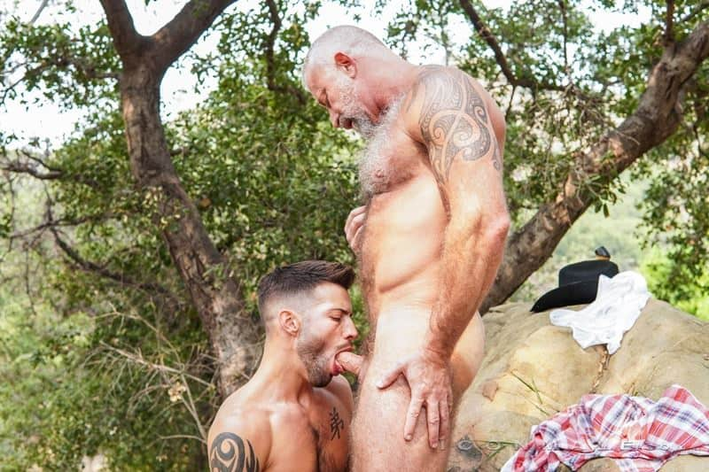 Young stud Casey Everett's hot hole bareback fucked by older Lance Charger's huge raw dick