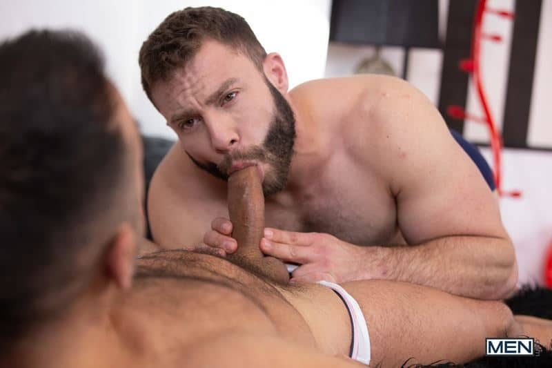 Hairy muscle daddy Diego Reyes's hot hole bare fucked by bearded hunk Oliver Marinho's huge thick uncut dick
